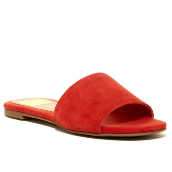 Dolce Vita Red Suede Flat Sandals